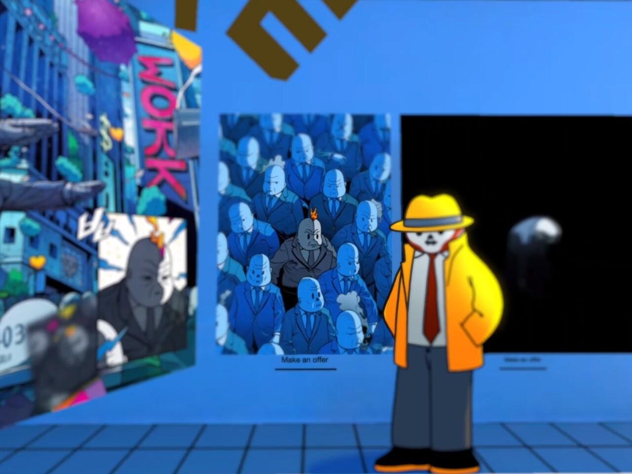 미스터 미상의 작품 'Mr Misang & Crypto World'. (위 그림을 누르면 해당 작품의 슈퍼레어 사이트로 이동한다. 거기서 '재생' 버튼을 누르면 애니메이션 작품을 감상할 수 있다.)